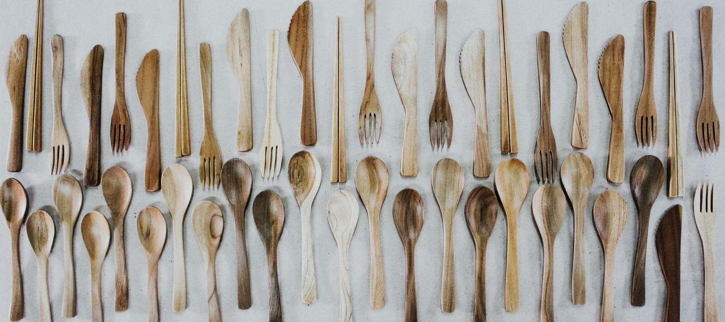 Fair trade sustainable teak wood cutlery