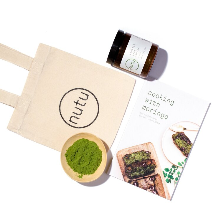 Sustainable lifestyle brand Nutu moringa powder + cookbook at PazLifestyle.com