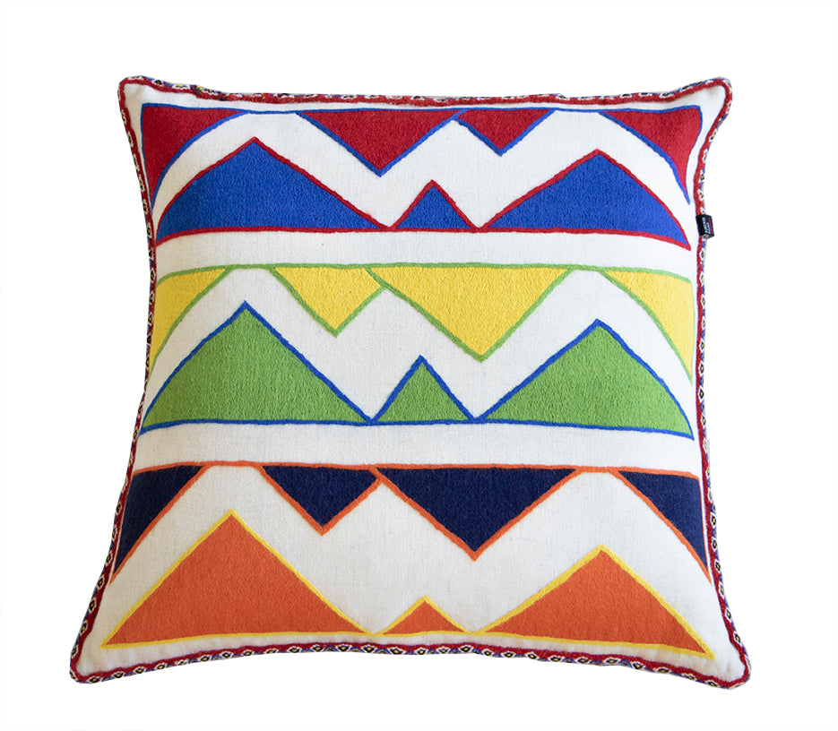 Geometric Triangle Pillow Cover With Front And Back Patterns - PAZLIFESTYLE
