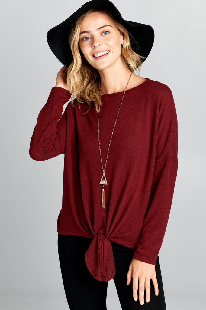 Burgundy Tie Sweater