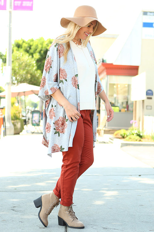 + Floral Print Open Front Cardigan