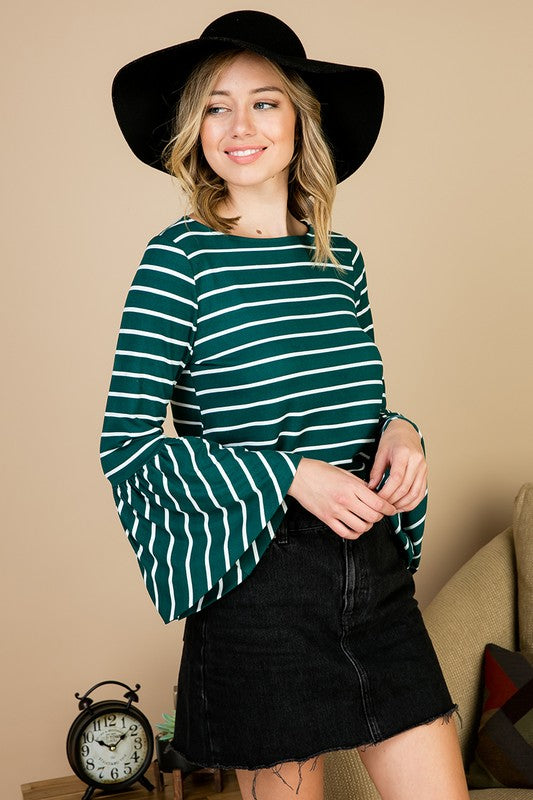 Green Stripe Bell Sleeve Top