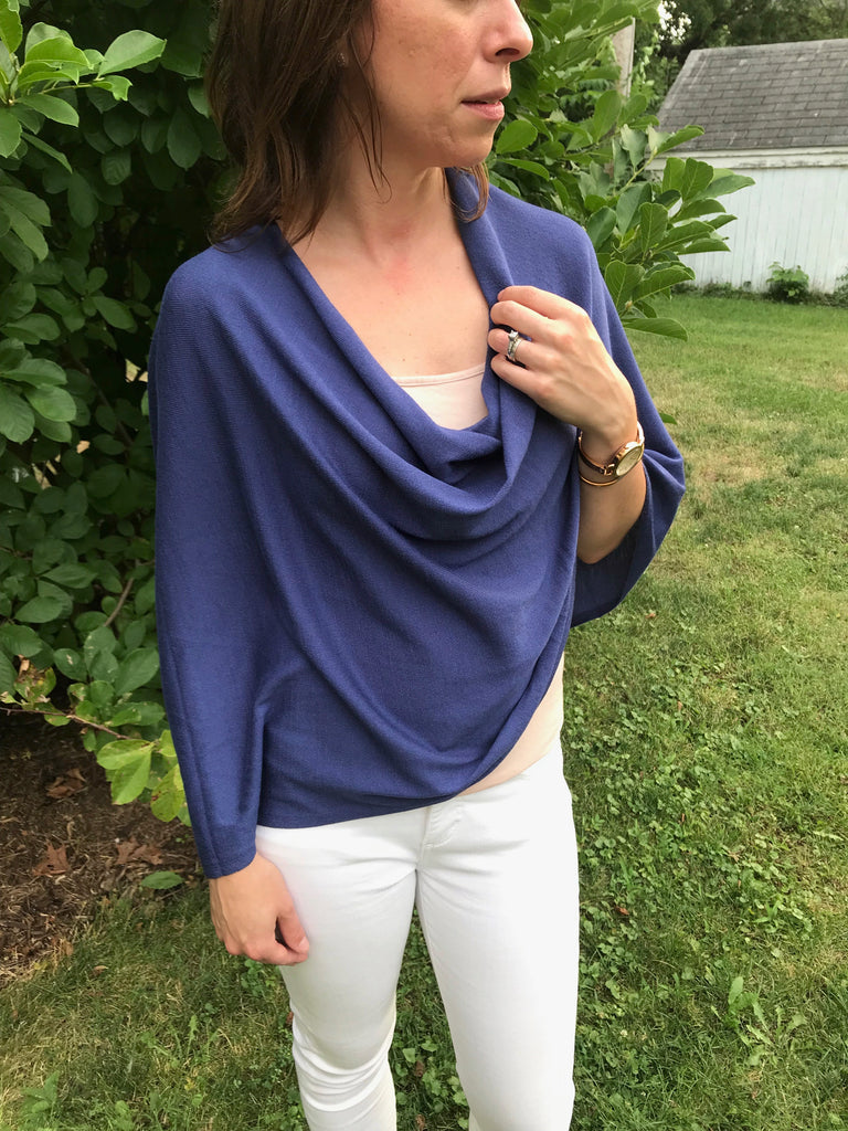Blue Poncho Sweater