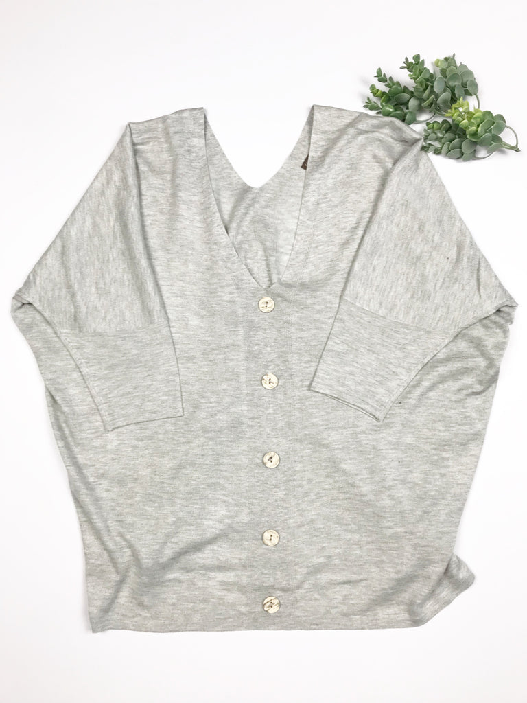 Grey Sweater with Button Detail