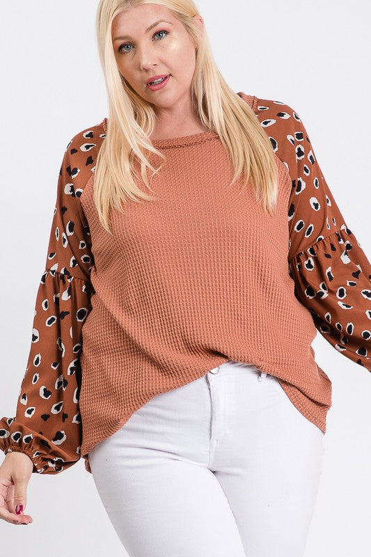+ Printed Sleeve Top