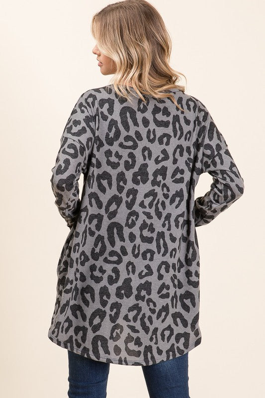 + Leopard Print Long Sleeve Top