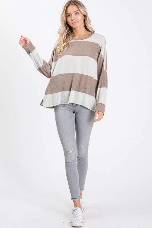 Mocha Striped Top