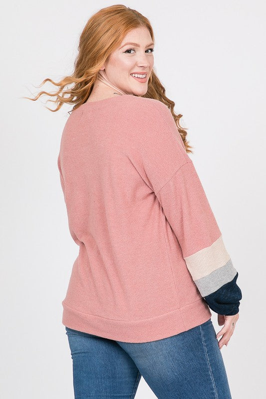 + Pink Color Block Sleeve Sweater