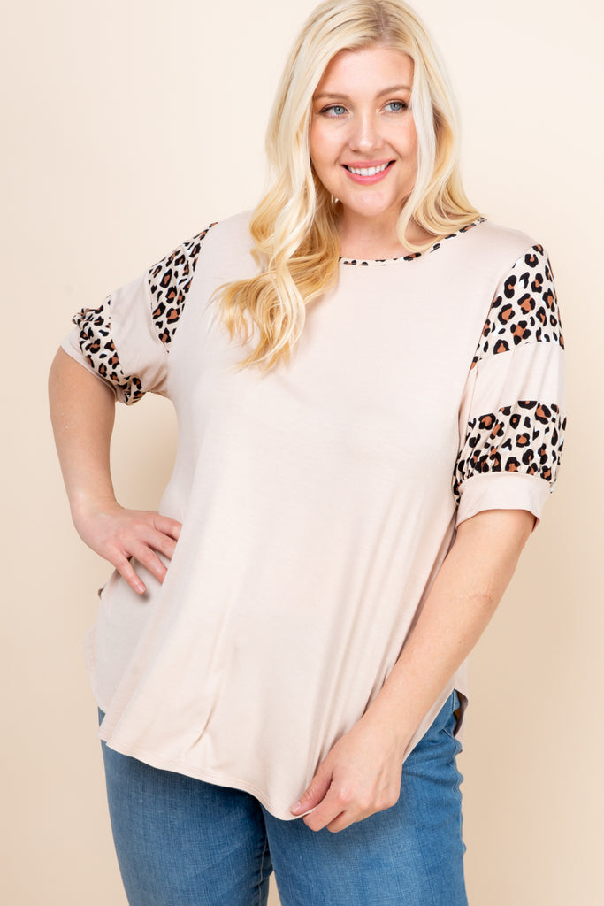 + Casual Animal Print Top