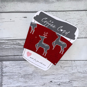 Metallic Reindeer Take Out Coffee Cozy