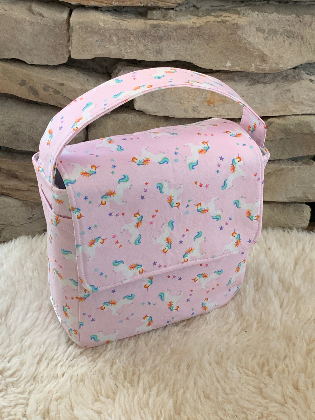 Pink Unicorn Boxy Insulated Lunch Bag