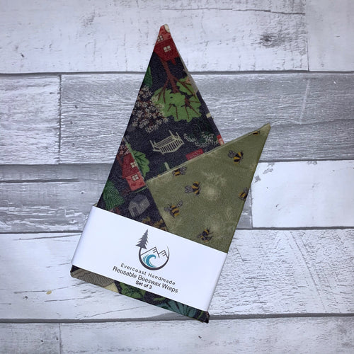 Town and Green Bee Beeswax Wraps – Classic Set of 3