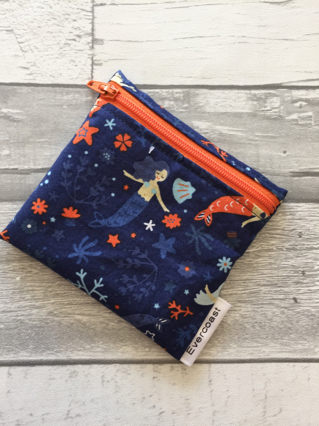 Navy Mermaid Reusable Mini Snack Bag
