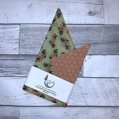 Small Mint Bliss Floral Beeswax Wraps – Classic Set of 3