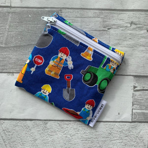 Blue Construction Reusable Mini Snack Bag