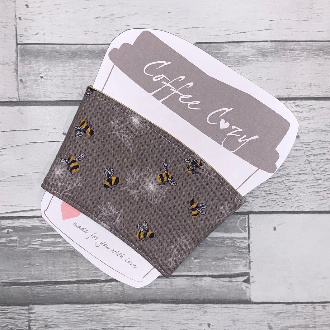 Grey Bee Take Out Coffee Cozy