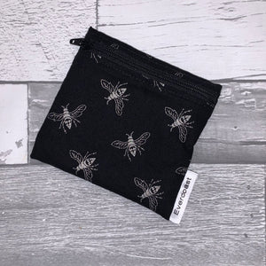 Silver Merallic Bee Reusable Mini Snack Bag