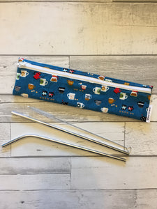 Coffee Reusable Straw/Utensil Bag