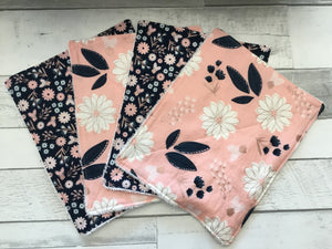 Pink and Navy Floral Unpaper Towels - Set of 4