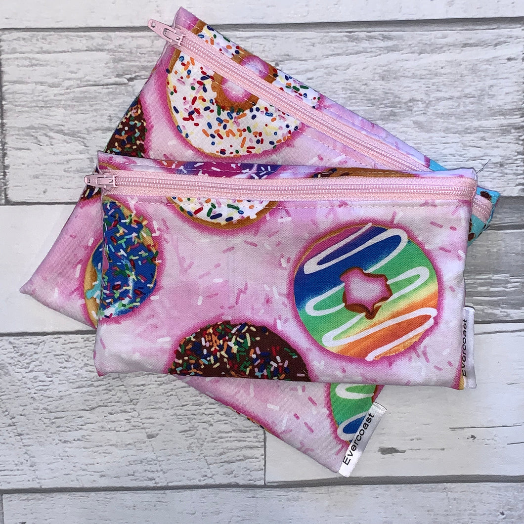 Donuts on Pink Reusable Snack Bag Set