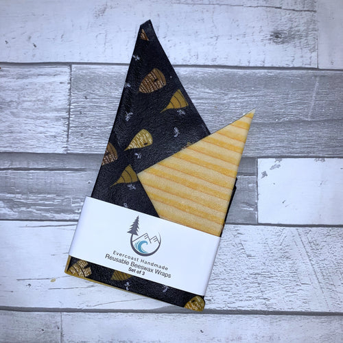 Navy Beehive Beeswax Wraps – Classic Set of 3