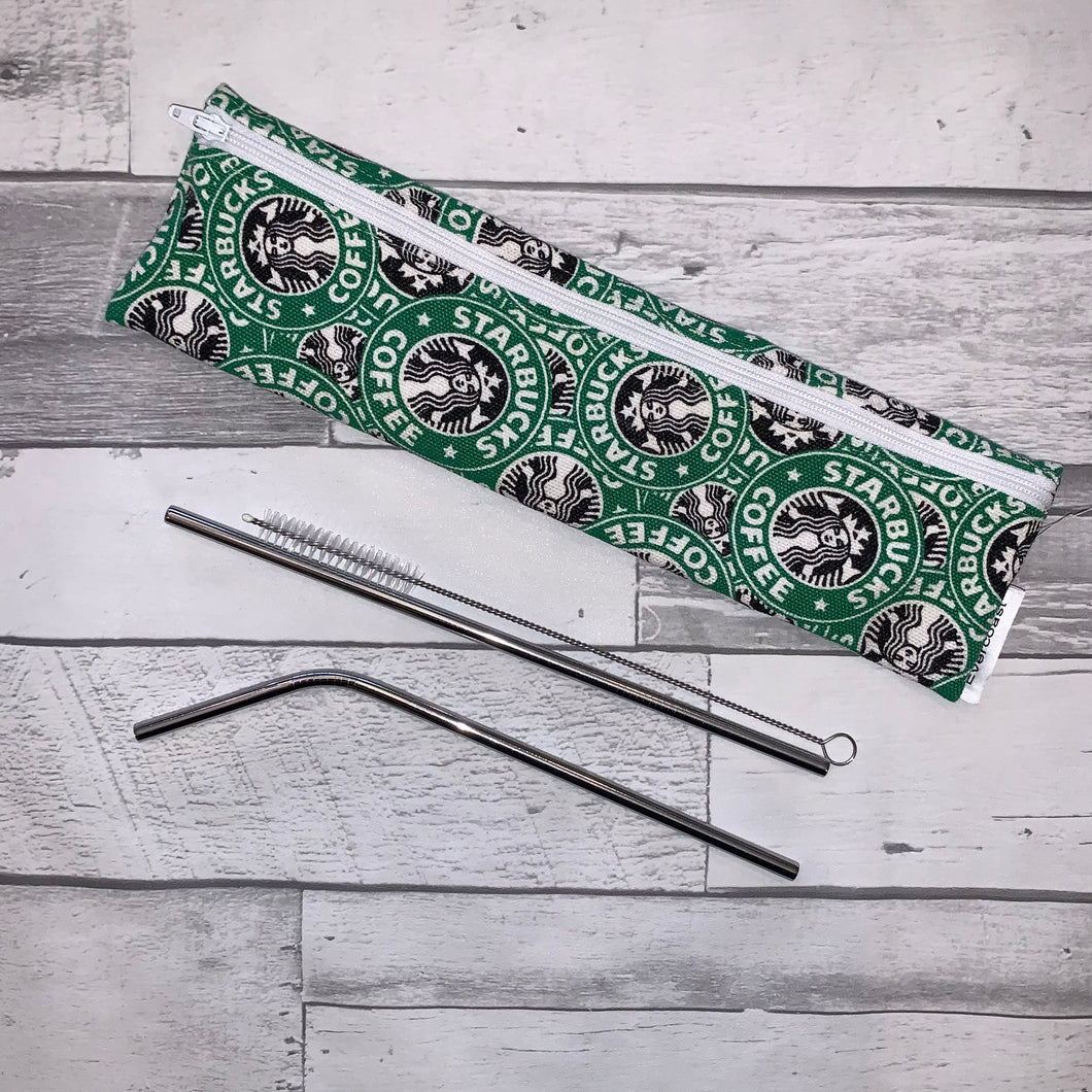 Coffee House Reusable Straw/Utensil Bag
