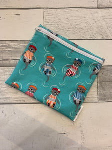 Teal Swimming Otters Reusable Sandwich Bag