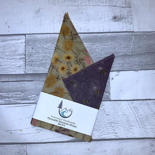 Floral and Purple Bee Beeswax Wraps – Classic Set of 3