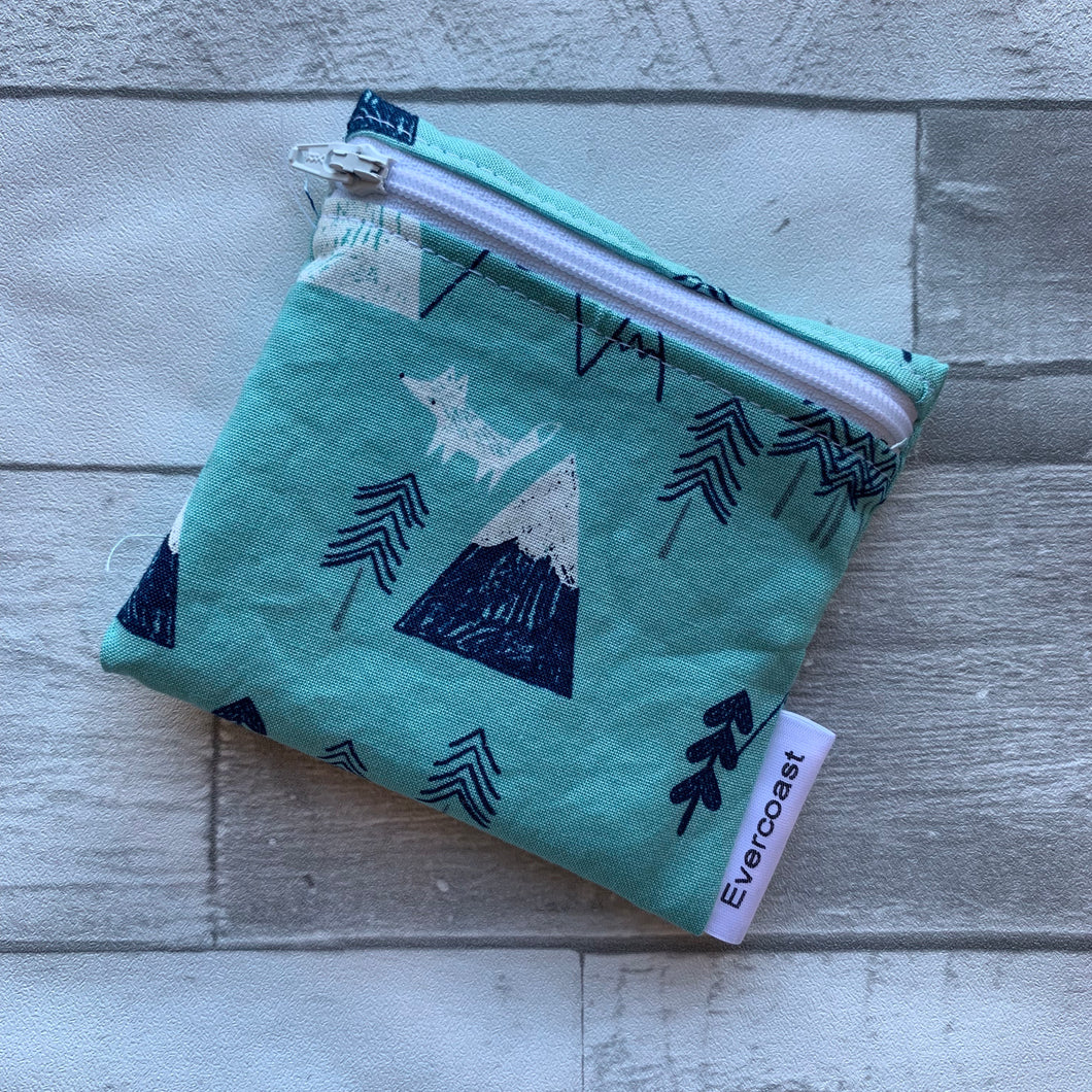 Mountains on Teal Reusable Mini Snack Bag