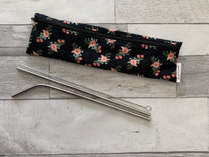 Small Black Floral Reusable Straw/Utensil Bag