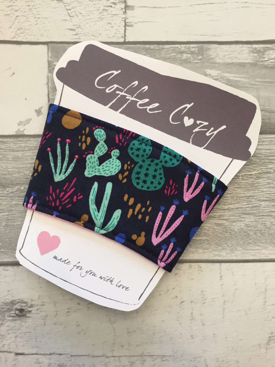 Navy Cactus Take Out Coffee Cozy