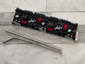Black Woodland Reusable Straw/Utensil Bag