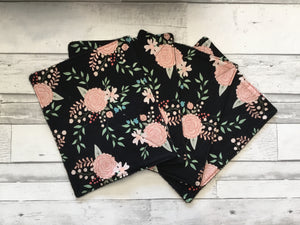 Black And Pink Floral Unpaper Towels - Set of 4