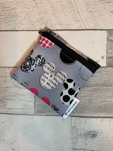 Grey Mouse Ears Reusable Mini Snack Bag