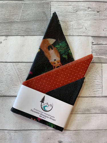 Whimsical Fox Beeswax Wraps – Classic Set of 3