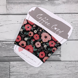 Small Black Bliss Floral Take Out Coffee Cozy