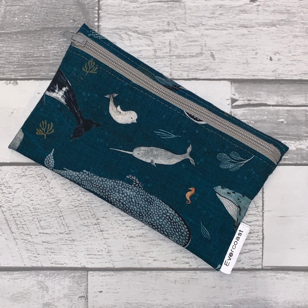 Wastercolor Whale Reusable Snack Bag
