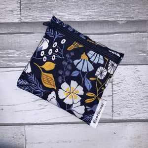 Navy Floral Reusable Mini Snack Bag