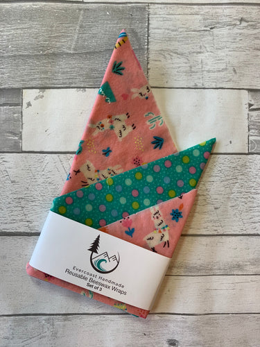 Pink Llama Beeswax Wraps – Classic Set of 3
