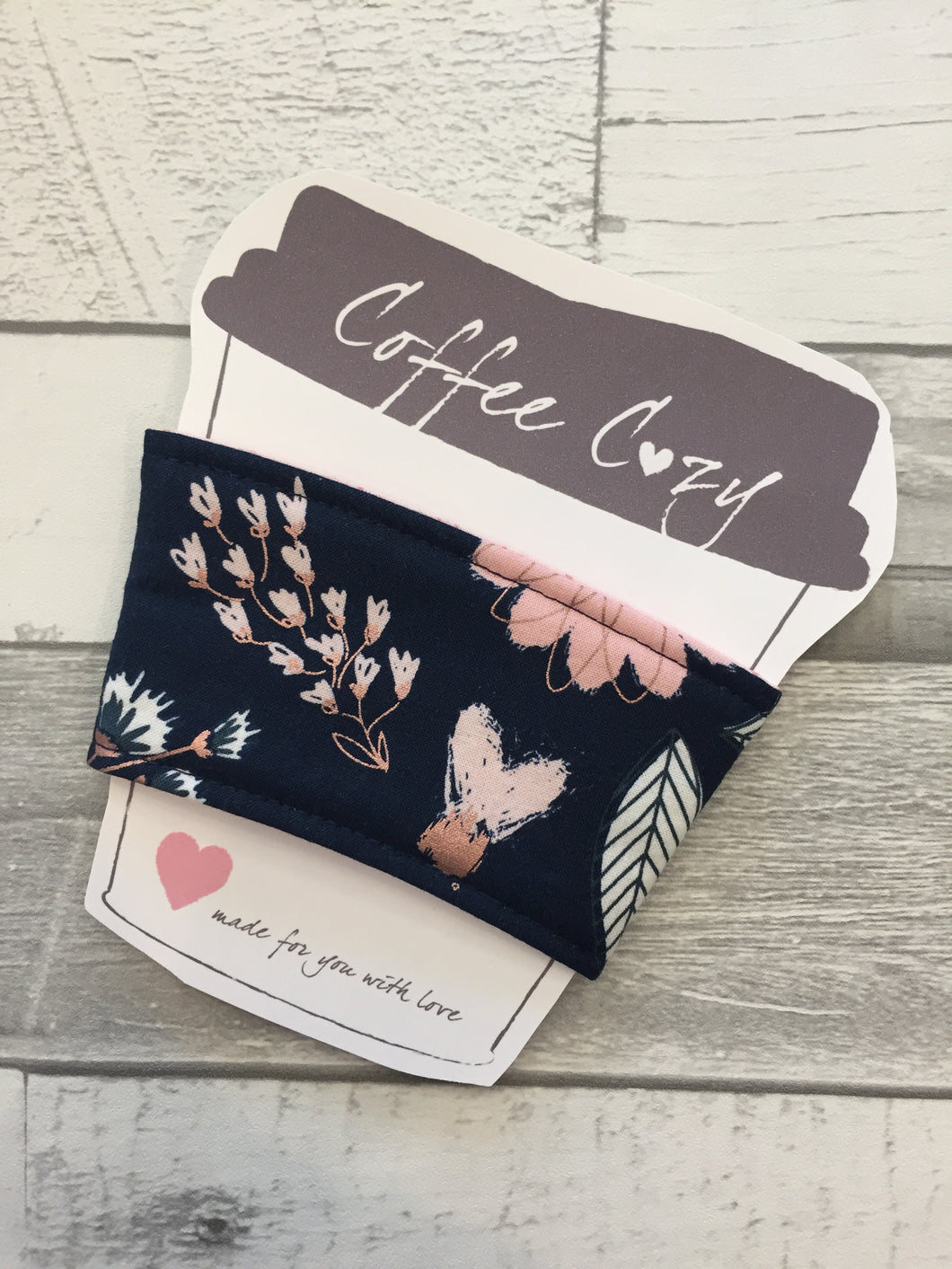 Navy Rose Floral Take Out Coffee Cozy