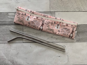 Pink Woodland Reusable Straw/Utensil Bag