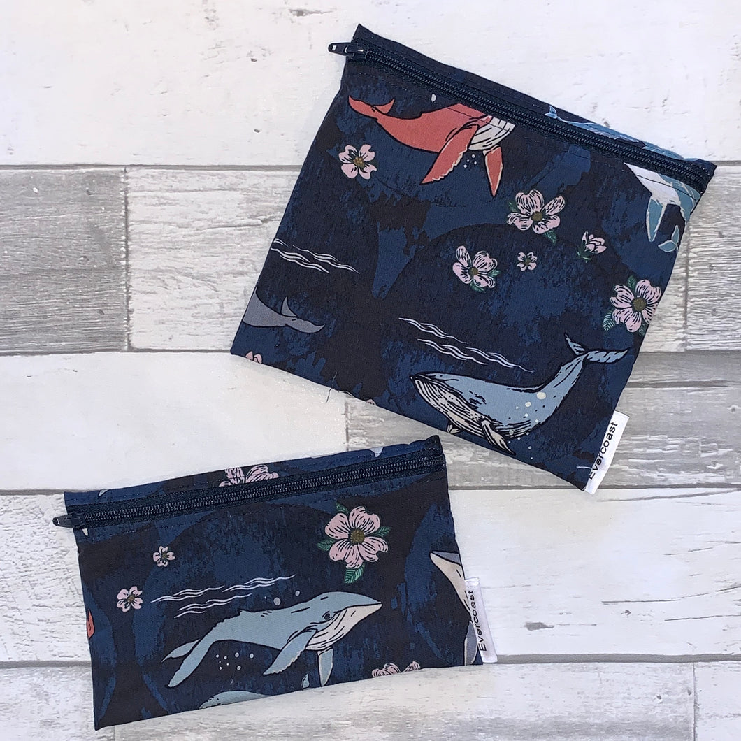 Floral Whale Reusable Snack Bag Set