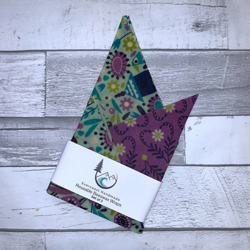 Purple Heart Floral Beeswax Wraps – Classic Set of 3