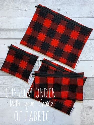 CUSTOM ORDER - Reusable Snack/Sandwich/Mini/XL Bag Set