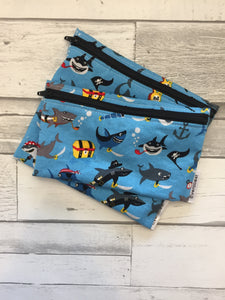 Pirate Shark Reusable Snack Bag Set