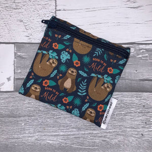 Born to be Mild Sloth on Navy Reusable Mini Snack Bag