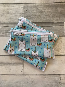 Blue Caticorn Reusable Snack Bag Set