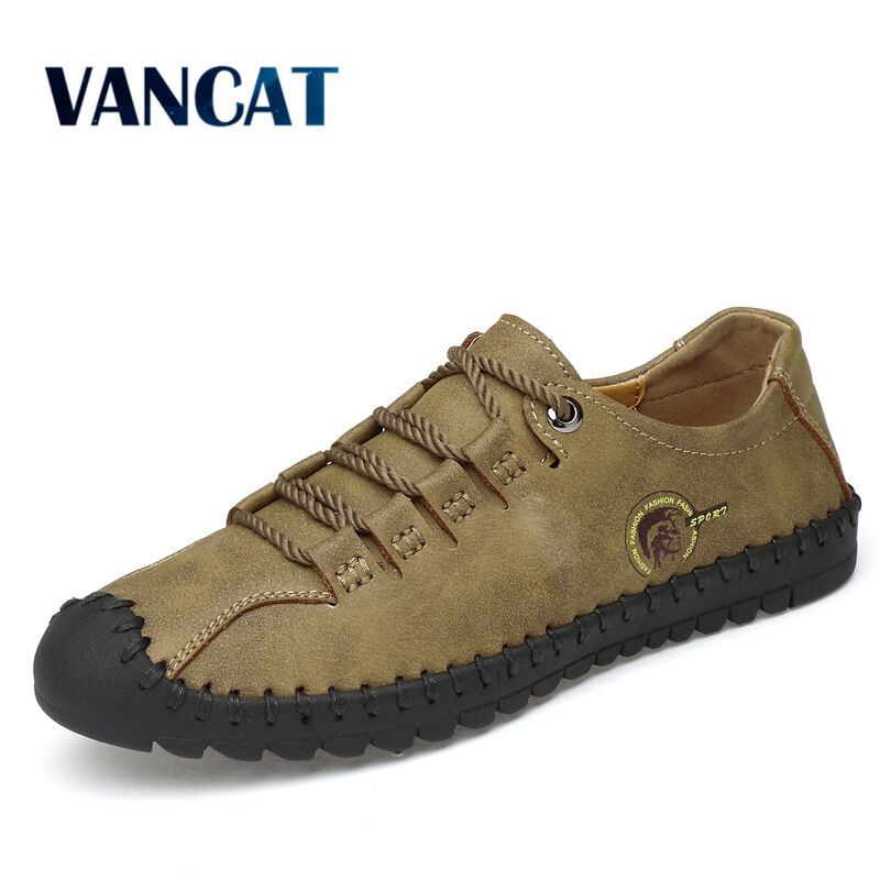 6c4b1287b0 2019 New Fashion Leather Spring Casual Shoes Men s Shoes Handmade Vintage  Loafers Men Flats Hot Sale ...