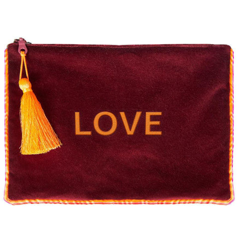 Pochette in velluto LOVE