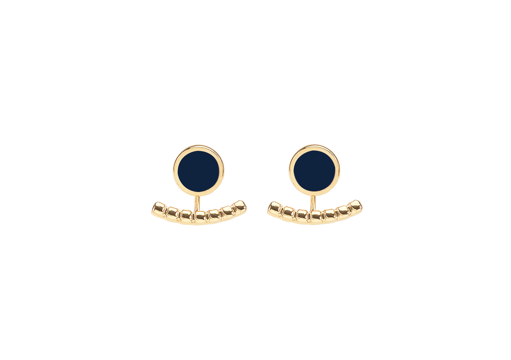 Crescent lobe earrings with small round enamelled pad - 001
